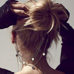 Free People ear cuff hair chain